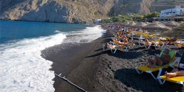 Kamari Beach in Santorini, Greece